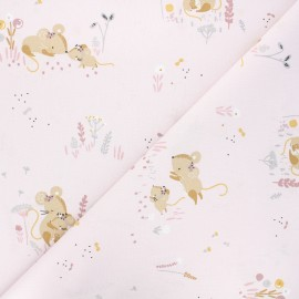 Tissu coton cretonne Minissou - rose clair x 10cm