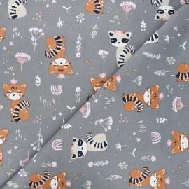 Tissu coton cretonne Eyota - gris x 10cm
