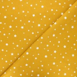 Tissu coton cretonne Zétoile - jaune moutarde x 10cm