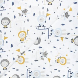 Tissu coton cretonne Skimo - blanc x 10cm