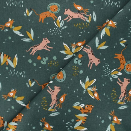 Tissu coton cretonne Koffi - vert foncé x 10cm
