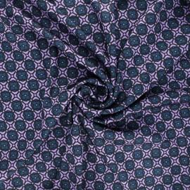 Print polyester satin fabric - purple Omana x 10cm