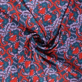 Tissu satin polyester Baroque - bleu x 10cm