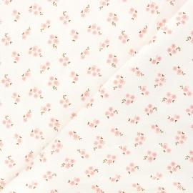 Tissu velours milleraies Poppy Small flowers - écru x 10cm
