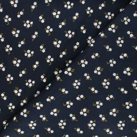 Poppy milleraies velvet fabric -dark blue Small flowers x 10cm
