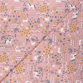 Jersey cotton fabric - pink Farm day x 10cm