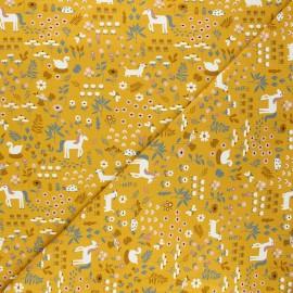 Tissu jersey Farm day - jaune moutarde x 10cm
