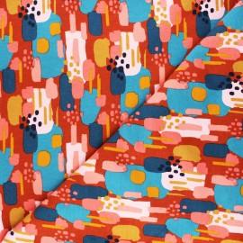 Poppy Sweatshirt cotton fabric - rust red Brushes x 10cm