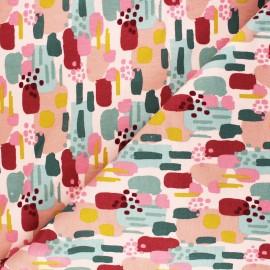 Poppy Sweatshirt cotton fabric - pink Brushes x 10cm