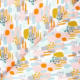Tissu sweat Poppy Brushes - blanc x 10cm