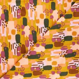 Poppy Sweatshirt cotton fabric - mustard yellow Brushes x 10cm
