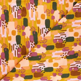 Tissu sweat Poppy Brushes - jaune moutarde x 10cm