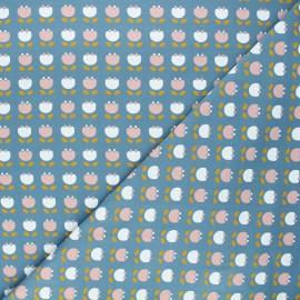 Jersey cotton fabric - blue Simple flowers x 10cm