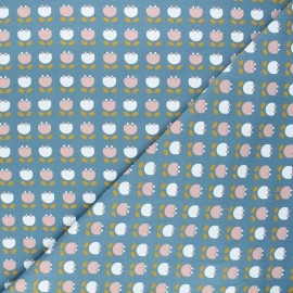 Tissu jersey Simple flowers - bleu x 10cm