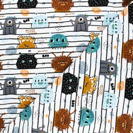 Tissu sweat Poppy Monsters - blanc x 10cm