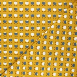 Jersey cotton fabric - mustard yellow Simple flowers x 10cm