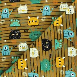 Tissu sweat Poppy Monsters - noir x 10cm