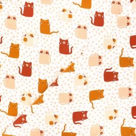 Tissu sweat Poppy Meow ! - blanc x 10cm