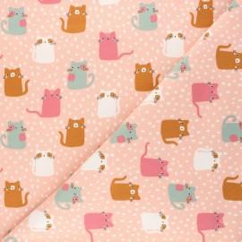 Poppy Sweatshirt cotton fabric - pink Meow ! x 10cm