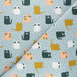 Tissu sweat Poppy Meow ! - bleu givré x 10cm
