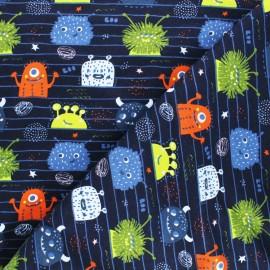 Poppy Sweatshirt cotton fabric - black Monsters x 10cm