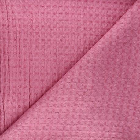 Double-sided Big Waffle cotton fabric - pink Owa x 10cm