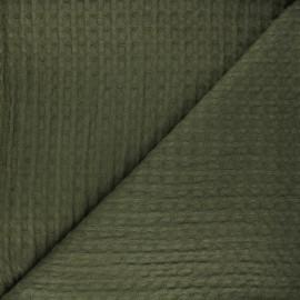 Tissu coton nid d'abeille XL Owa - vert kaki x 10cm