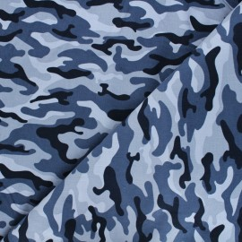 Poppy milleraies velvet fabric - blue camouflage x 10cm
