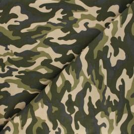 Poppy milleraies velvet fabric - green camouflage x 10cm