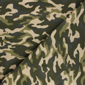 Tissu velours milleraies Poppy Camouflage - bleu x 10cm