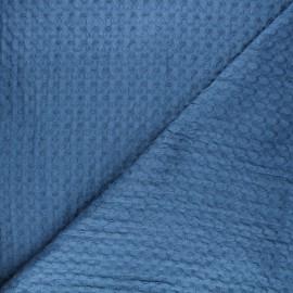 Tissu coton nid d'abeille XL Owa - bleu x 10cm