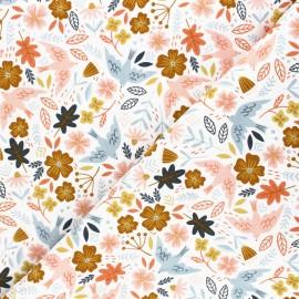 Tissu velours milleraies Poppy Flowers and birds - écru x 10cm