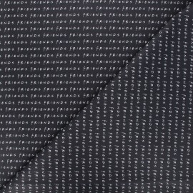 Tissu coton cretonne Friends - noir x 10cm