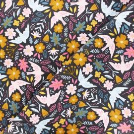 Tissu velours milleraies Poppy Flowers and birds - gris x 10cm