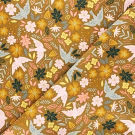 Poppy milleraies velvet fabric - ochre Flowers and birds x 10cm