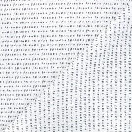Tissu coton cretonne Friends - blanc x 10cm
