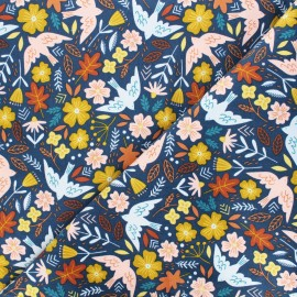 Poppy milleraies velvet fabric - blue Flowers and birds x 10cm