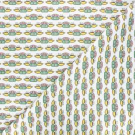 Friends Cretonne cotton fabric - white Central Perk x 10cm