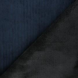 Tissu velours côtelé envers fourrure - bleu marine/gris x 10cm