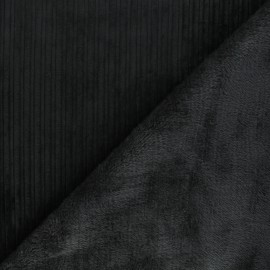 Thick ribbed velvet with fur fabric - black/grey x 10cm