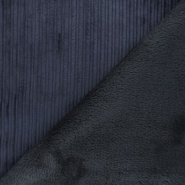 Thick ribbed velvet with fur fabric - anthracite grey/grey x 10cm