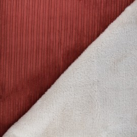 Thick ribbed velvet with fur fabric - red/raw x 10cm