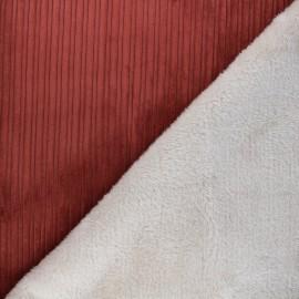 Tissu velours côtelé envers fourrure - rouge/écru x 10cm