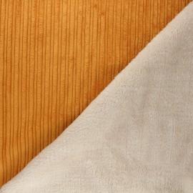 Tissu velours côtelé envers fourrure - jaune moutarde/écru x 10cm