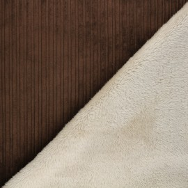 Thick ribbed velvet with fur fabric - brown/raw x 10cm