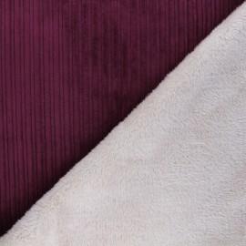 Tissu velours côtelé envers fourrure - violet/écru x 10cm