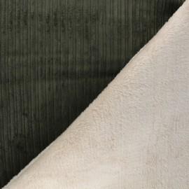 Tissu velours côtelé envers fourrure - vert kaki/écru x 10cm
