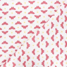 Tissu coton cretonne Wonder Woman - blanc x 10cm