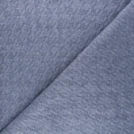 Tissu maille tricot Pied-de-coq - bleu x 10cm