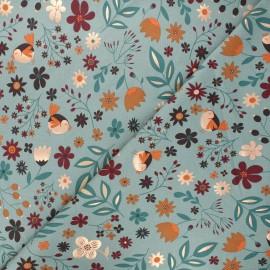 Printed jersey fabric - eucalyptus green Autumnal nature x 10cm